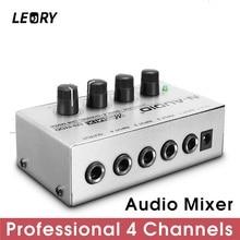 LEORY Professionale 4 Canali DJ Mixer Audio Mini Audio Mixing Console Metallo Argento A Basso Rumore DJ Mezclador Per Audio PC casa KTV