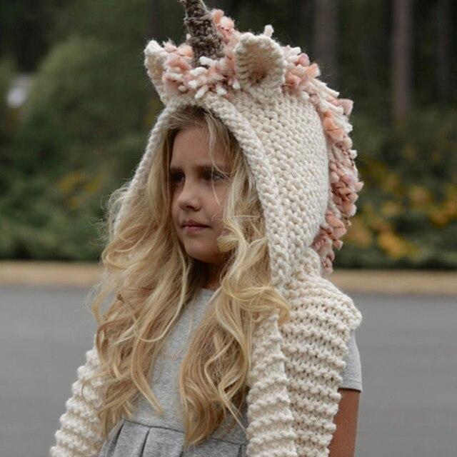 Шапка-единорог с шарфом, детский шарф-единорог, шапка 2 в 1 для девочек, детские теплые вязаные шапки, зимняя шапочка, детские шерстяные вязаные шапки