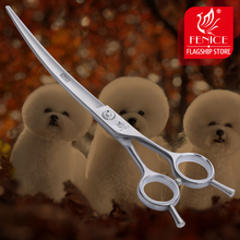 Fenice Professional pet dog grooming scissors curved shears 7.5 inch silver new stainless steel