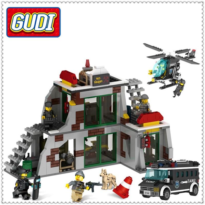 GUDI 9414 703Pcs Police SWAT Raid Terrorists Dens Building Block Compatible Legoe DIY   Toys For Children decool 3114 city creator 3in1 vehicle transporter building block 264pcs diy educational toys for children compatible legoe