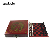 Easytoday Traditional Chess Wooden Games Set Synthetic Wood Board Antique Resin Pieces High Quality Game Gift