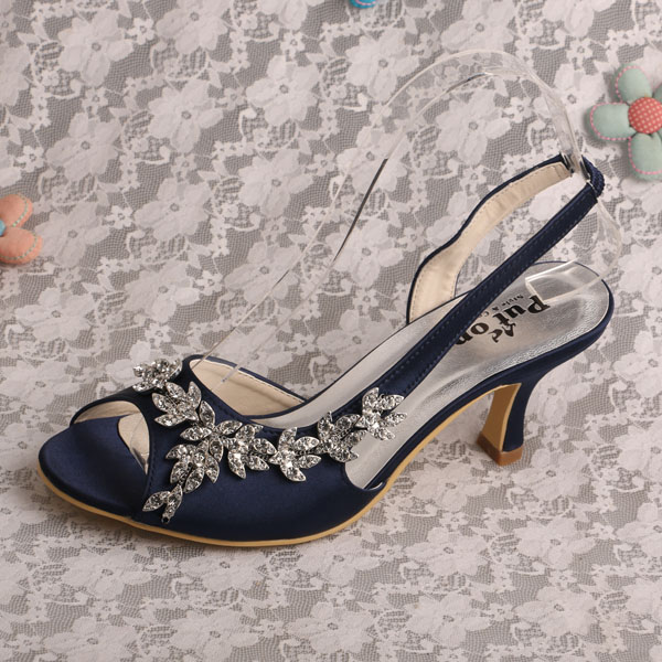 Women Wedding Bridal Shoes Rhinestone Navy Slingback Lady