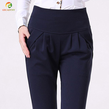 2017 Women's Summer Spring Trouser Fashion Full Length Pocket Plus size 4XL Women Loose Elastic Casual Work Wear Harem Pants