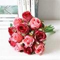 Оптовая дешевые поддельные искусственный свадебный свадебный букет пурпурная роза свадебный цветок украшение партии красный шелк розы свадебный цветок