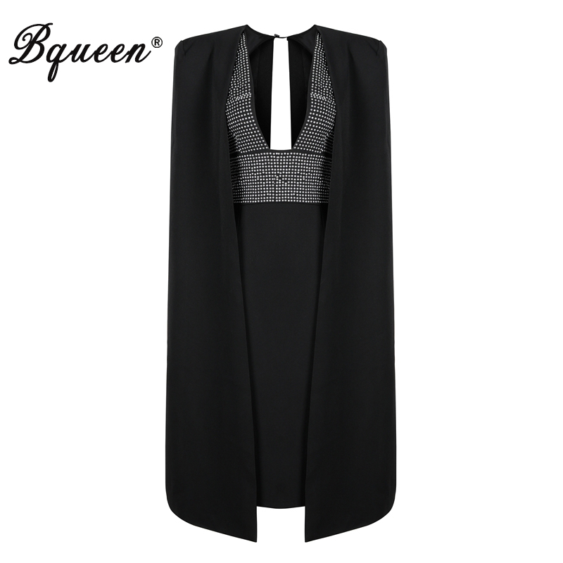 Bqueen Fashion Cloak Sleeves Midi Bodycon Women Dress Sexy Black Deep V Rivet Spring Women Party Dress Vestidos 2018 New Arrival женское платье brand new 2015 v midi vestidos dress