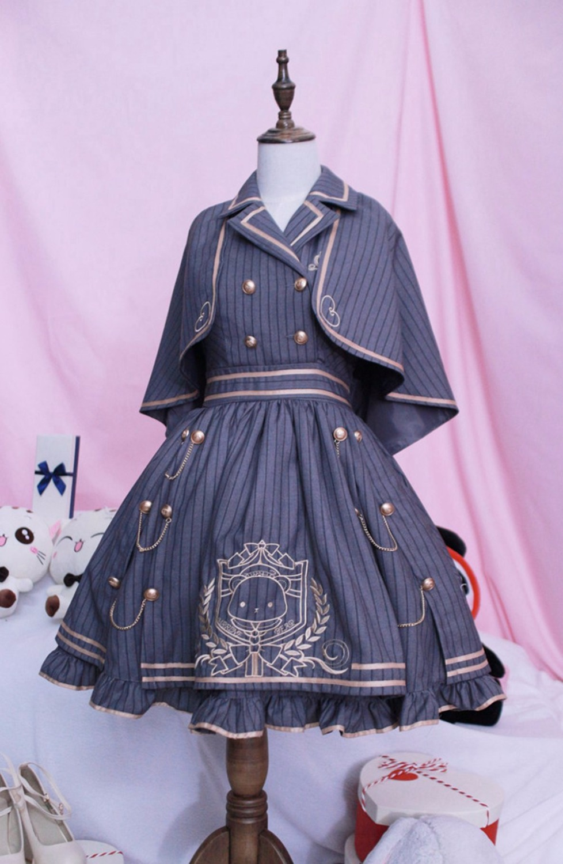 Lolita Uniform Dress Girls Royal Style Preppy School Burgundy Gray Striped Vest Dress with Mini Cape