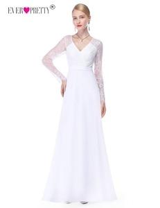 Image 4 - Pretty Illusionแขนยาวชุดแต่งงานลูกไม้สายVคอง่ายชุดเจ้าสาว2020 Vestido Noiva Praia Casamento