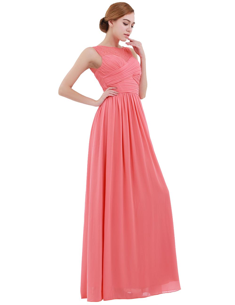 iEFiEL Women s Chiffon Dress Lace Long Dress for Evening Maxi Dress Wedding Prom  Gown Vestido de festa Birthday Party Dress 038cd7f16b0d