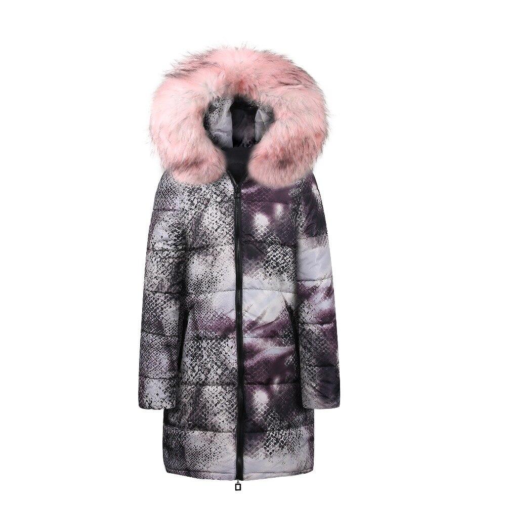 2018 Fur Animal Long   Parkas   Women Down Jacket long winter jacket top quality womens winter jackets coat Warm Irregular printin