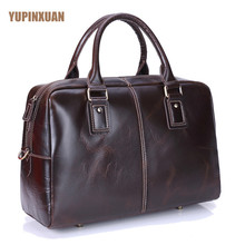 YUPINXUAN Men's Genuine Leather 16″ Laptop Messenger Bags Large Capacity Cow Leather Travel Bag Cowhide Handbags Vintage Duffle