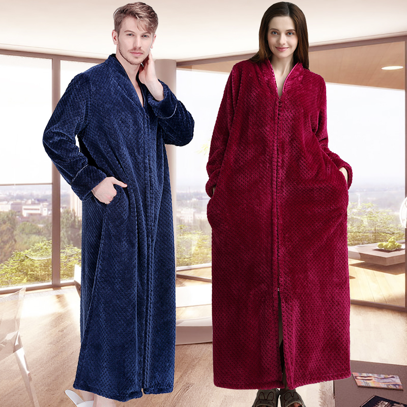 New Women Men Extra Long Winter Warm Bathrobe Plus Size Pregnant Zipper Bath Robe Luxury Soft Grid Flannel Thermal Dressing Gown
