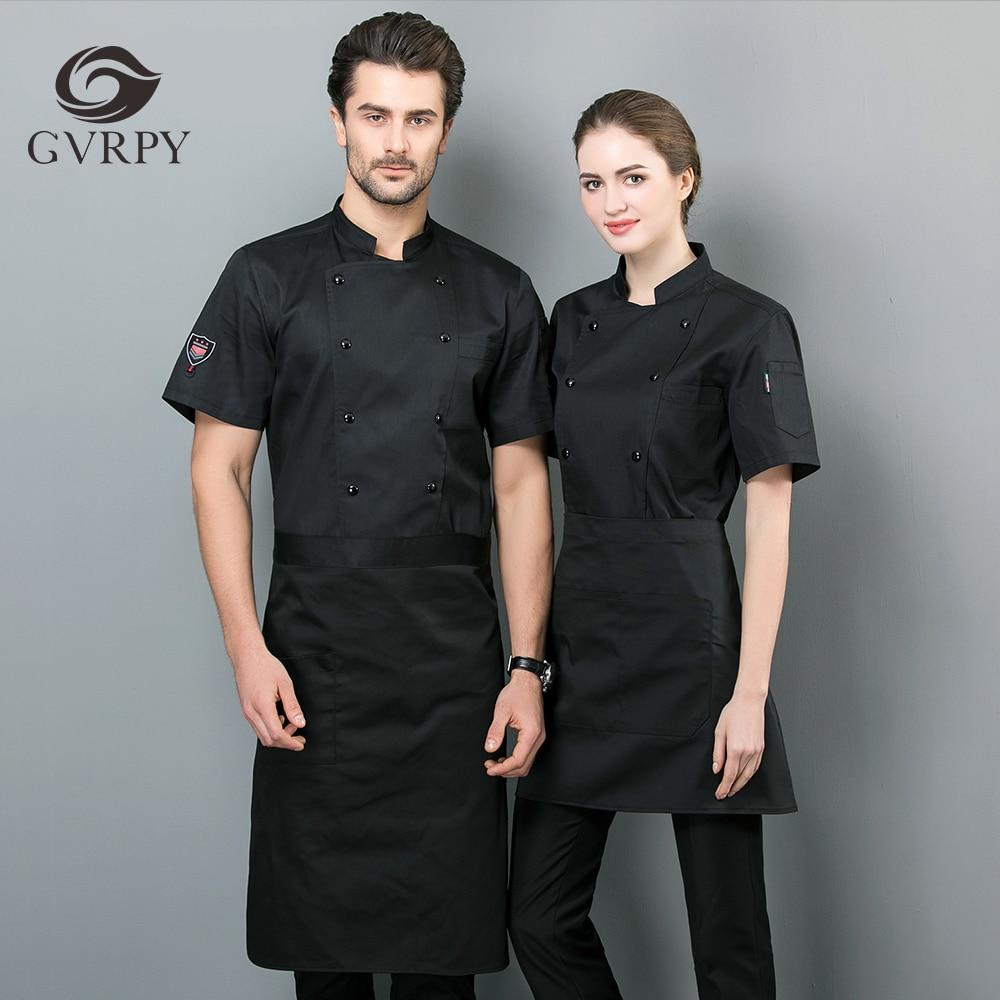 Unisex White Black Chef Uniform Waitre Waitress Short Sleeve Workwear Restaurant Kitchen Coffee Cake Shop Work Uniform Shirt