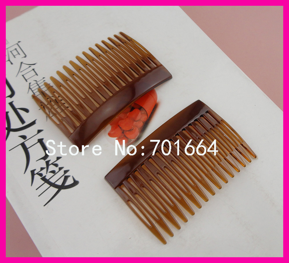 20PCS 4.5cm*7.0cm 15teeth transparent dark brown plain Plastic Hair Combs for diy hair accessories,side comb wholesales
