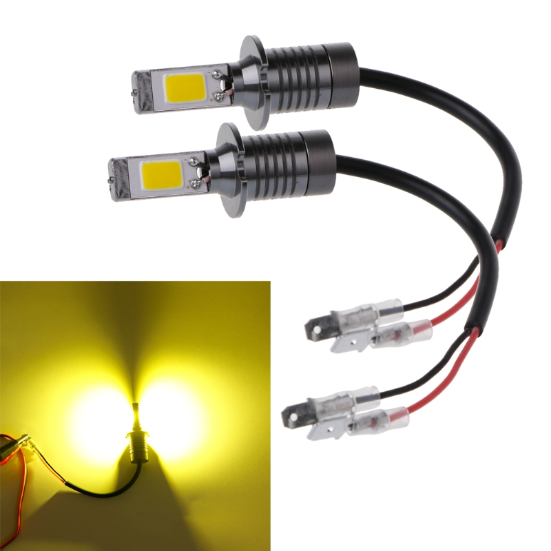 HNGCHOIGE 2X H3 80W Strobe Flash LED Bulbs Car Fog Driving Light Lamp Yellow Amber 3000K -m20