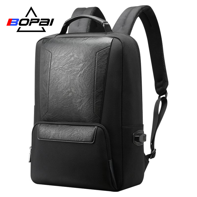 BOPAI Men Backpack USB Charging Bag for 15.6 inch Laptop Backpack Anti theft High Capacity Waterproof Men Travel Backpack bopai laptop backpack with usb external charging port for 15 6 inch laptop men anti theft waterproof large capacity travel bag