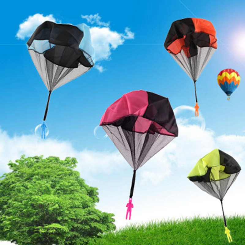 2pcs Hand Throwing Kids Mini Light Play Parachute Toys For Children Outdoor Games Soldier Outdoor Sports Educational Toys Kids