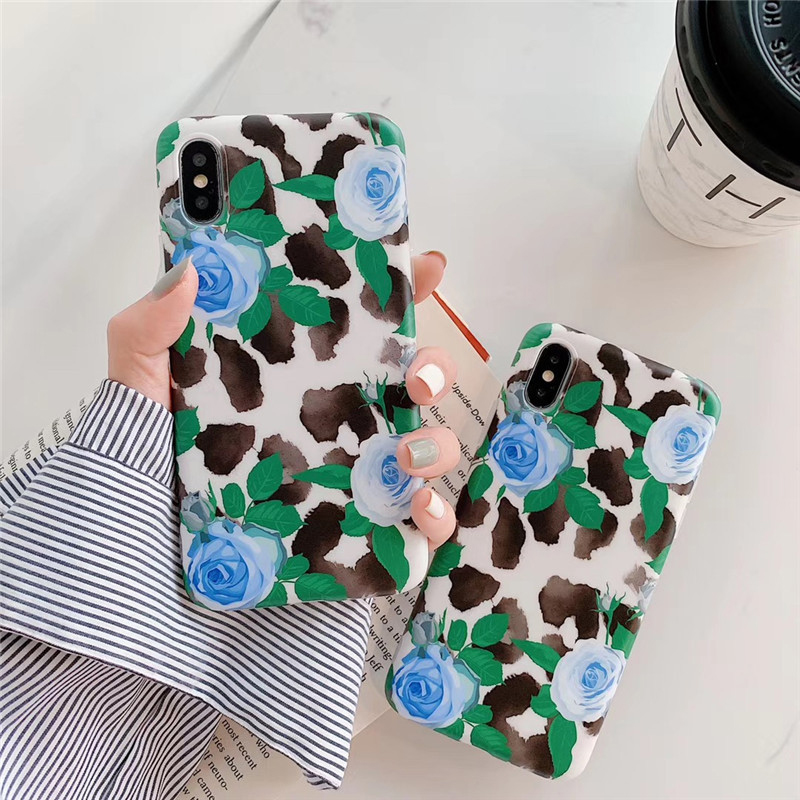 Ink Painting Rose Flower Coque For iPhone XS Max XR 8 7 6s Plus Soft Phone Case Back Cover iphone 6