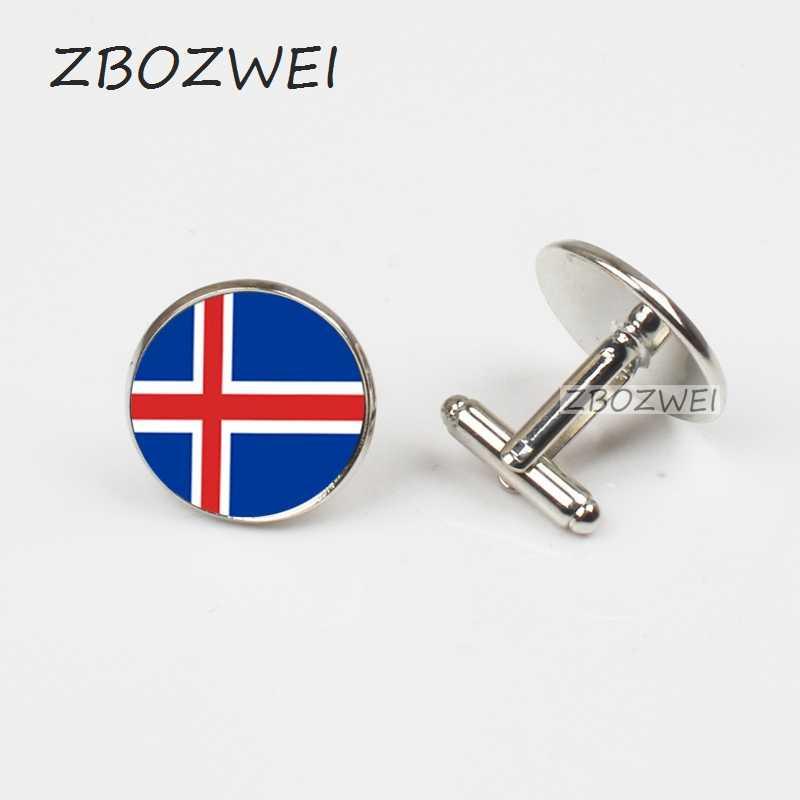 ZBOZWEI 2018 yeni erkek moda güzel takı kol düğmeleri renk Retro İzlanda bayrağı erkek kol düğmesi gömlek aksesuarları