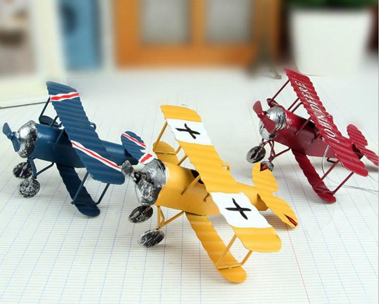 Metal tin model plane restoring ancient ways furnishing articles Creative home decorative handicrafts