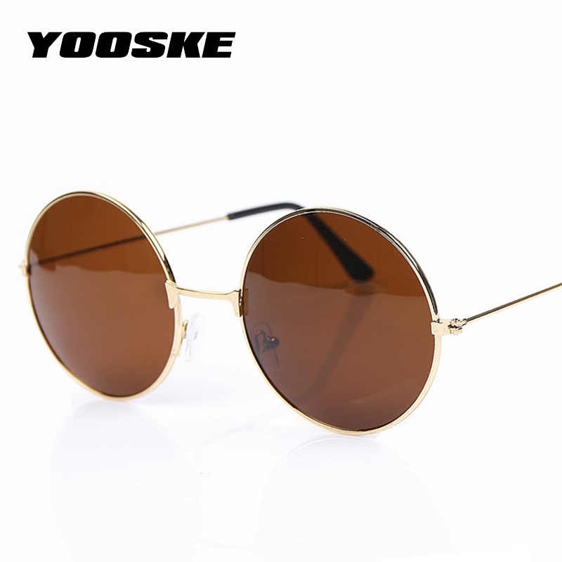 e61f1f1c6c14 YOOSKE Vintage Round Sunglasses For Women Men Brand Designer Mirrored  Glasses Retro Female Male Sun Glasses