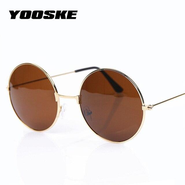 60f5ef446b YOOSKE Vintage lunettes de soleil rondes pour femmes hommes marque Designer  lunettes miroir rétro femme mâle