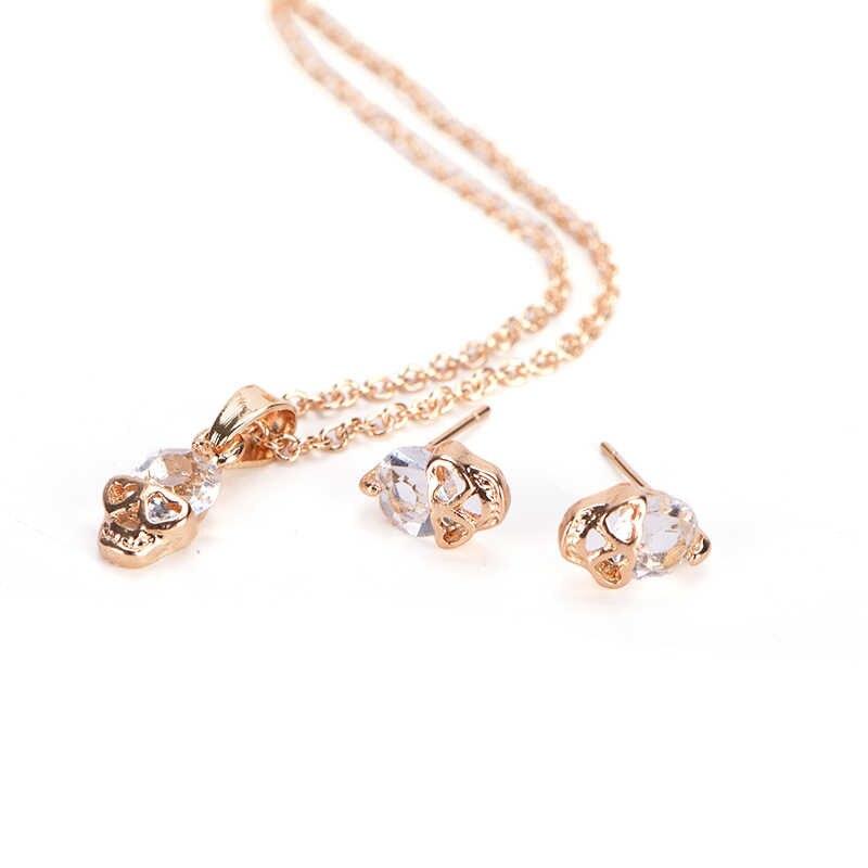أنيق الذهب الشظية مطلي حجر الراين الجمجمة رئيس قلادة أقراط طقم مجوهرات