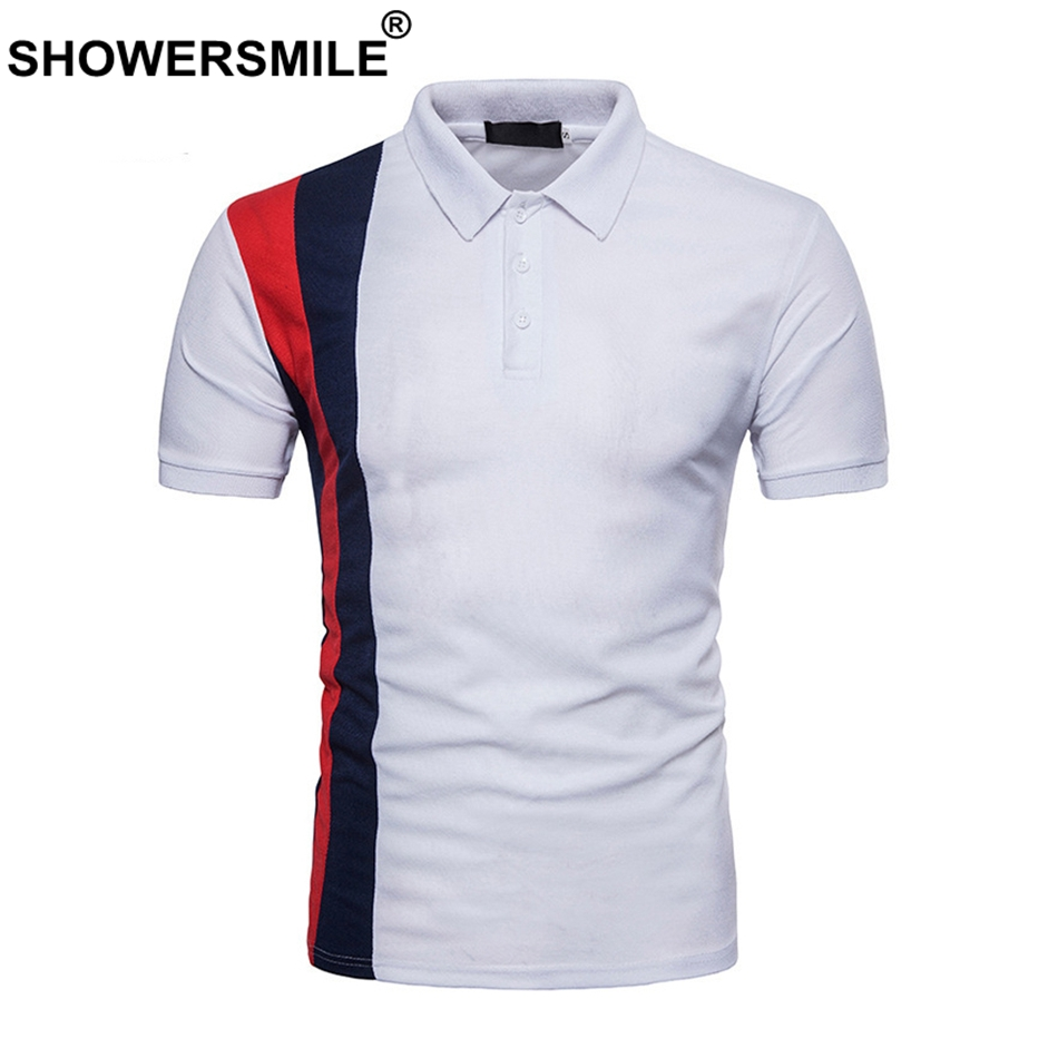 SHOWERSMILE White   Polo   Shirt Men Cotton Tops Patchwork Slim Fit Short Sleeve Summer Casual   Polo   T Tees Male 2018 Brand Clothing