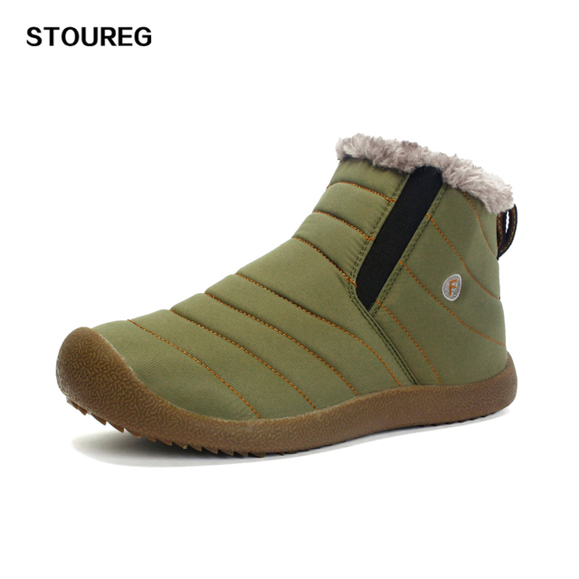 Winter Slip-on Men Snow Shoes Ankle Boots Waterproof Cotton Shoes Keep Warm Male Boots High-Top Hiking Shoes 39-46