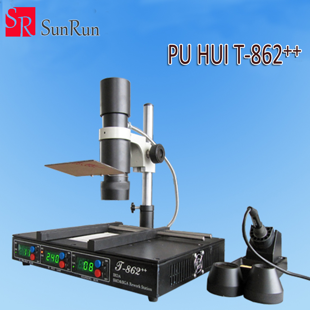 PuHui T862++ infrared Heating BGA SMD PLCC Desoldering Rework Station IRDA Welder T862++ With 936 Electric Soldering Iron