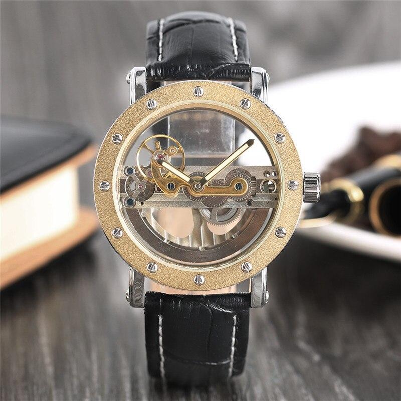 Montre automatique creuse de luxe mécanique hommes montres en cuir noir squelette Transparent décontracté auto horloge vent - 4