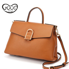 The new cross-cut square buckle leather handbags head layer of leather simple color classic version of portable Messenger bag