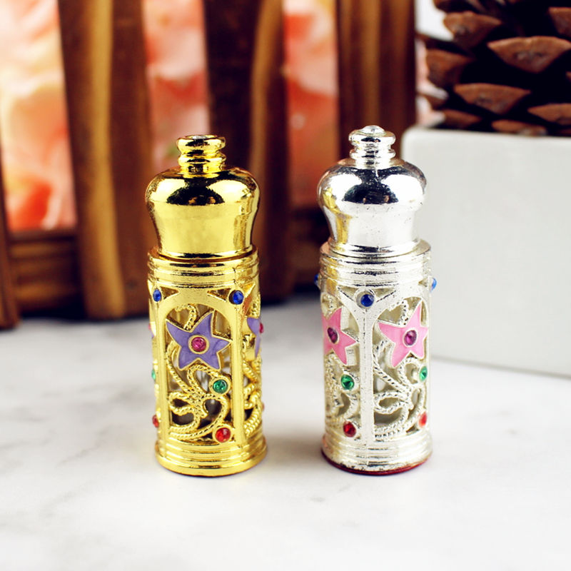 3ml Antiqued Glass Perfume Bottle Arab Style Metal Essential Oils Bottle With Glass Dropper GOLD SILVER Color