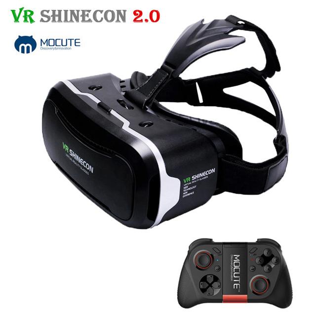 2017 shinecon vr 2.0 headset óculos de realidade virtual 3d de papelão cabeça de Montagem caixa de Capacete Para 4.7-6' Telefone + Mocute vr Gamepad