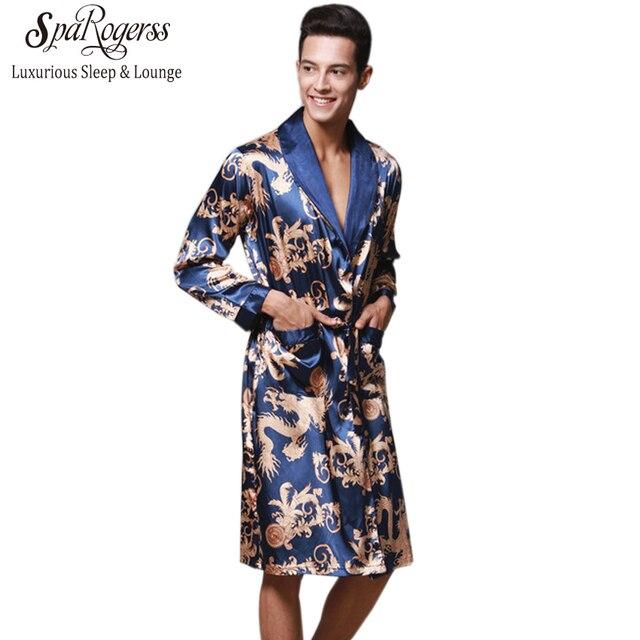 d65c9e2cd7db Роскошный китайский Король Дракон мужской Халат Домашняя одежда шелковистый длинный  халат бренд из искусственного шелка длинный