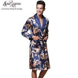 Роскошный китайский Король Дракон мужской Халат Домашняя одежда шелковистый длинный халат бренд из искусственного шелка длинный мужской