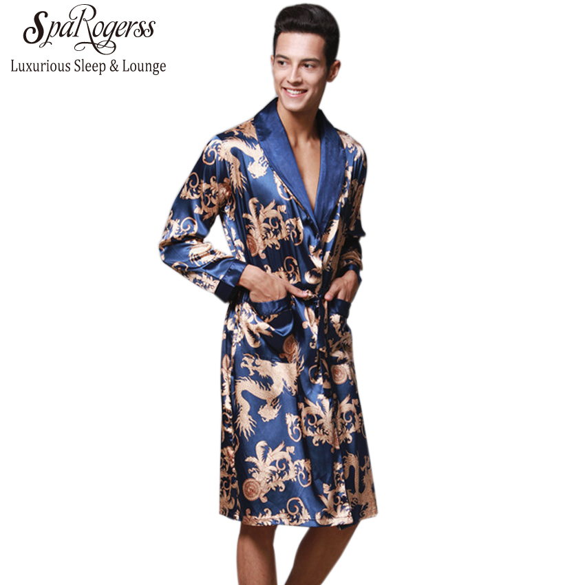 Underwear & Sleepwears Men Chinese Style Dragon Sleep Robes 2019 New Plus Size Long Bathrobe Brand Faux Silk Long Male Sleep Robes 5xl Sleepwear Matching In Colour