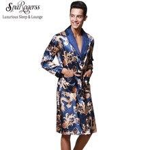 dba406d168a28 Роскошный китайский Король Дракон мужской Халат Домашняя одежда шелковистый  длинный халат бренд из искусственного шелка длинный