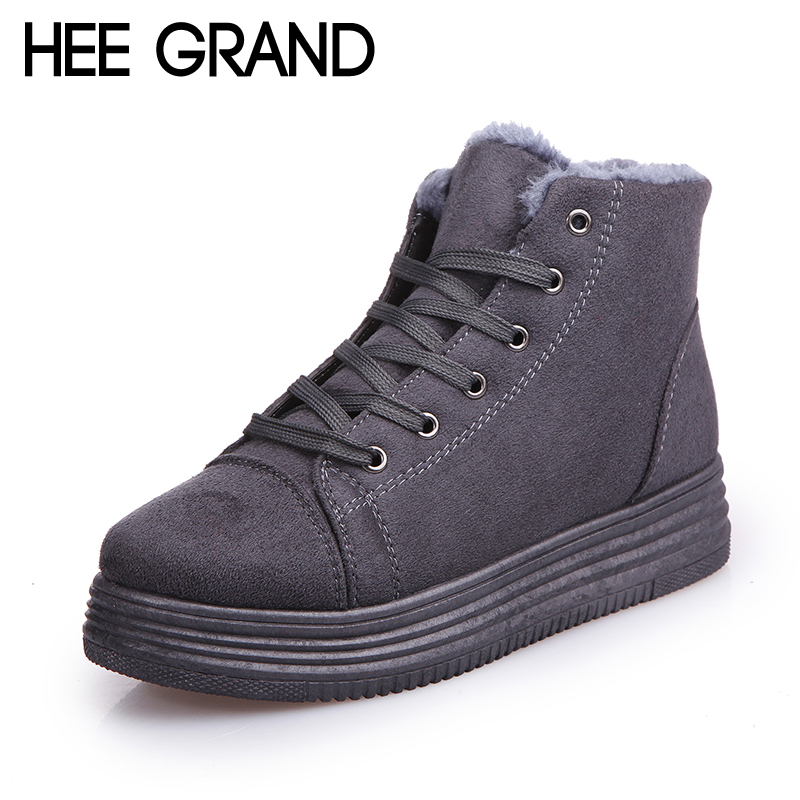 HEE GRAND 2017 Winter Warm Lace-Up Snow Fashion Solid Flat Ankle Boots Casual Solid Women Flats Shoes Woman Size 35-40 XWX5981 hee grand women snow boots winter flat panda pattern shoes woman fur cotton slip on snow ankle boots size 35 40 xwx4498