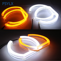 Dual Color Daytime Running Light Turn Signal Lamp DRL LED Angel Eyes Headlight Halo Ring For