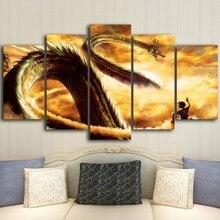 HD Prints Canvas Pictures Modern Wall Art Framework 5 Pieces Cartoon Dragon Ball Z Paintings Goku Ride Shenron Poster Home Decor dragon ride