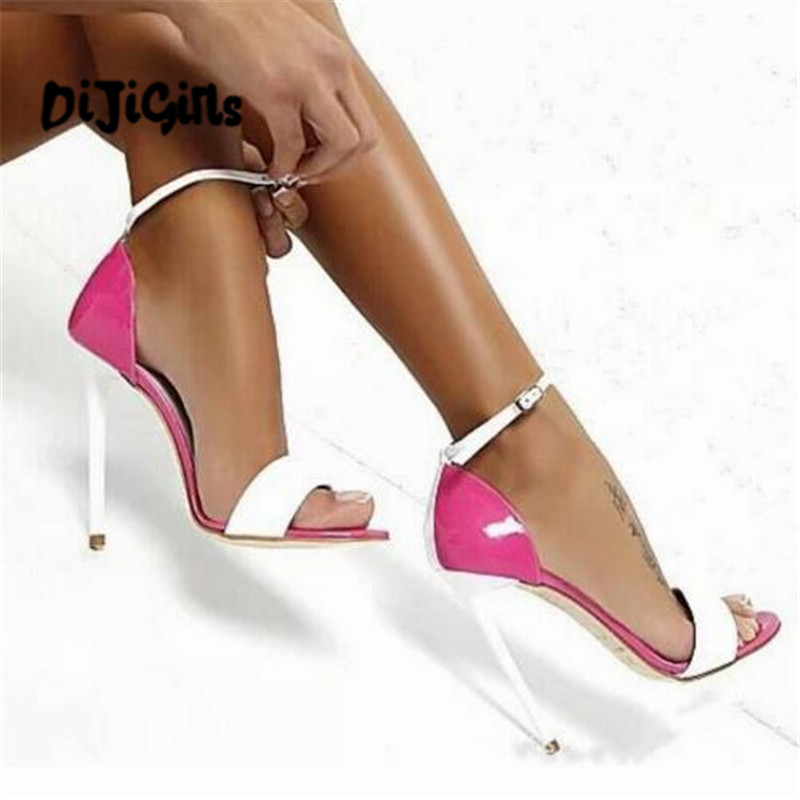 DIJIGIRLS bride wedding shoes girls chaussure Zapatos Mujer patent leather ladies summer sandals women thin high heels pumps