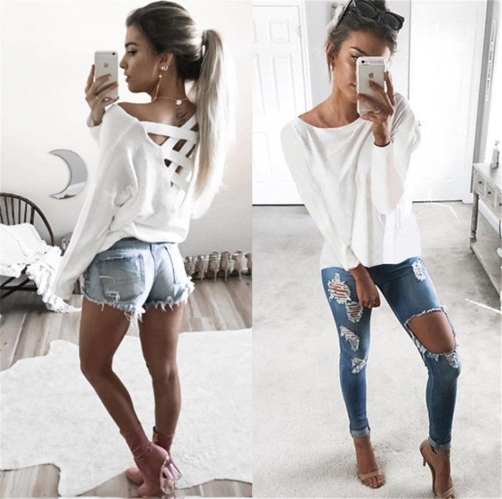 New Women's Loose Long Sleeve Top, Summer Back Cross T-Shirt, Casual, Cotton T-Shirt 5