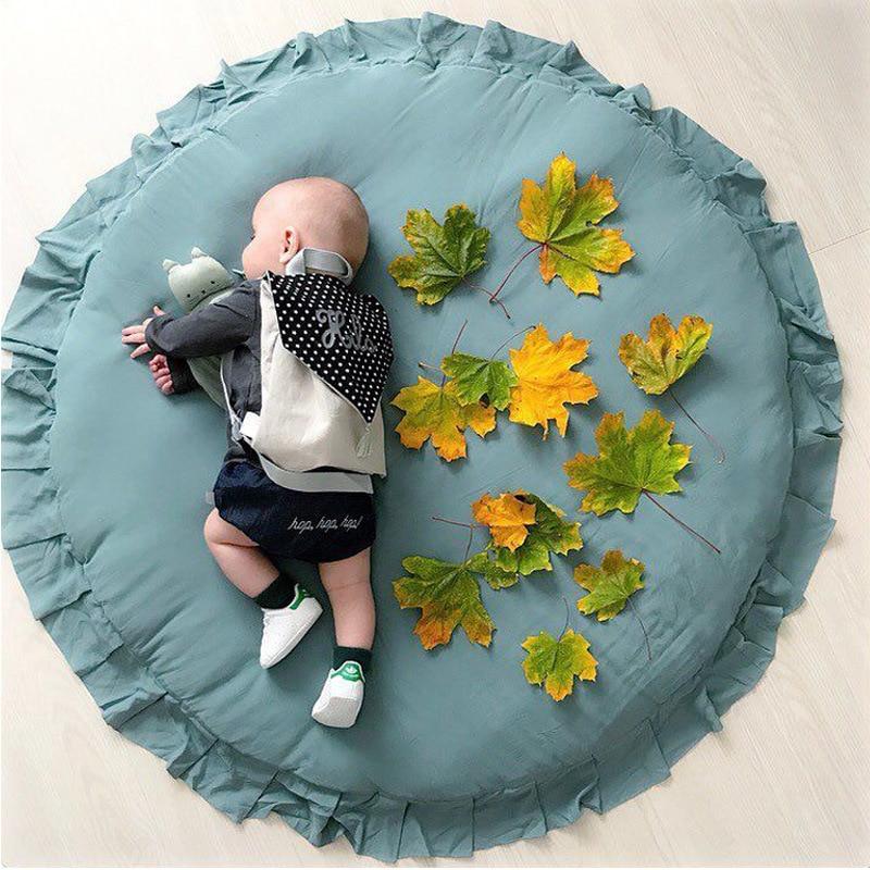 Tapis de jeu pour bébé tapis de coton rond en dentelle décoration de la chambre des enfants tapis de jeu bébé confort assis couverture