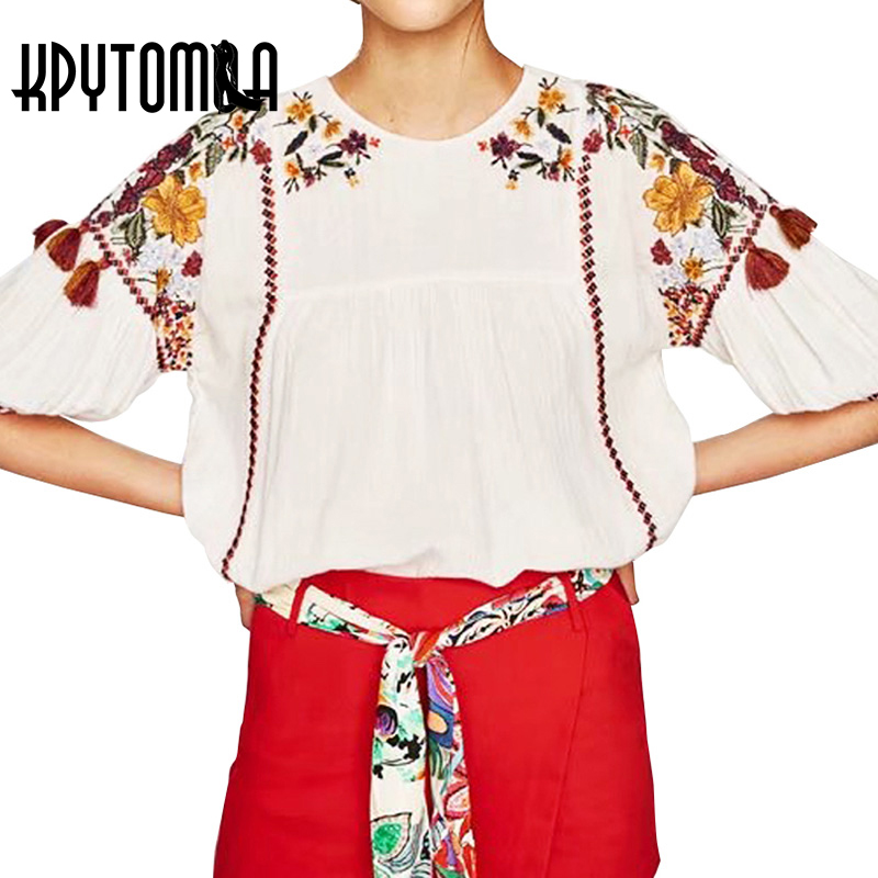 Boho Floral Embroidery Tassle Oversized Women Blouses Shirts 2018 New Fashion Half Sleeve Loose Blouse Vintage Tops Femme blusas