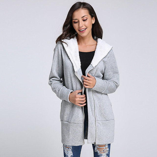 9a675c5f957 2018 Autumn Winter Women Hoodies Warm Fleece Cotton Coats Zip Up Outerwear Hooded  Sweatshirts Casual Long