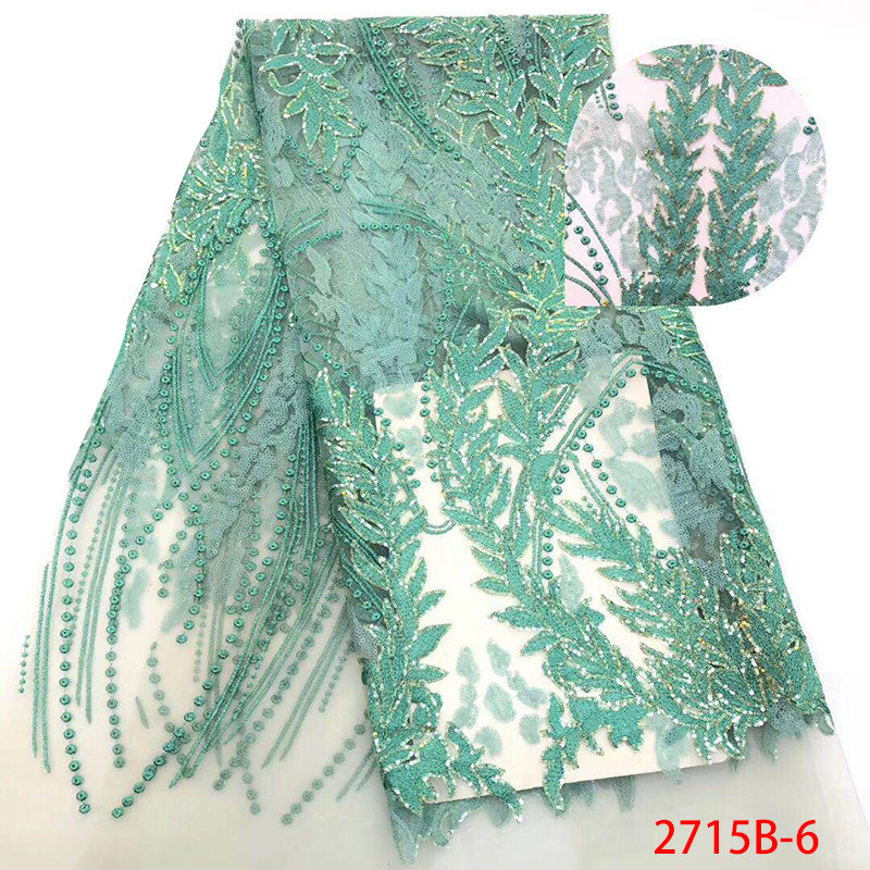New Nigerian Lace Fabrics Hot Sale African Lace Fabric Latest Bridal Tulle Laces Fabric With Sequins For Party Dress KS2715B-6