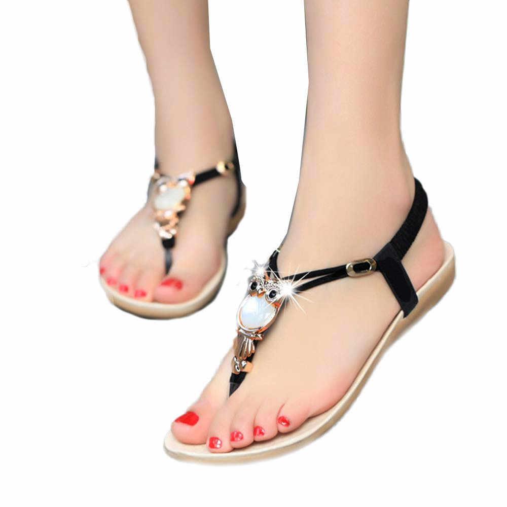נשים סנדלי ריינסטון ינשוף מתוק סנדלי אצבע קליפ להחליק על רך תחתון חוף נעלי סנדלי zapatos de mujer 2019 חדש