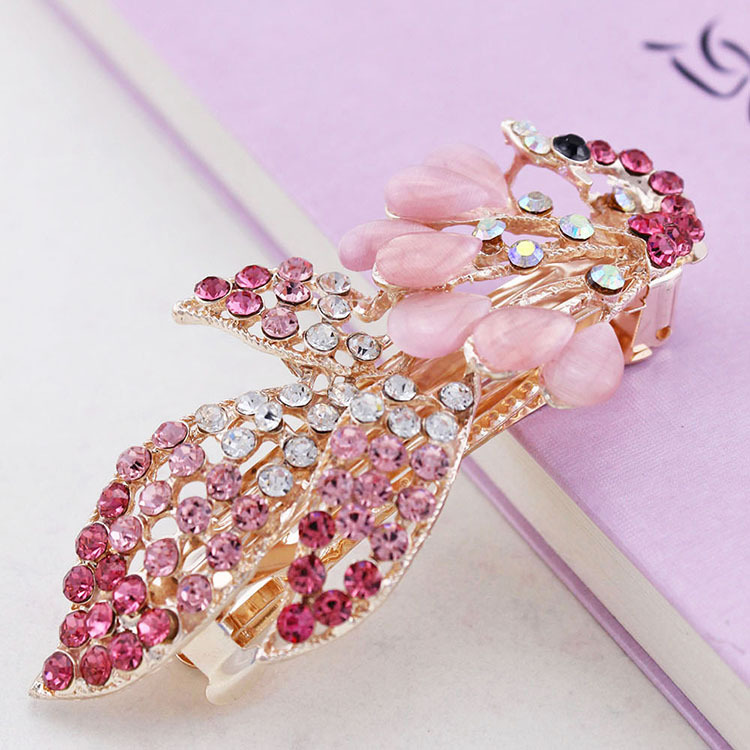 High-grade opal peacock hairpin clip, free home delivery han edition hair pearl four petals small clip hairpin edge clip a word free home delivery