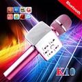Marca k10 inalámbrico micrófono de karaoke music party ktv micrófono dual altavoces al aire libre bluetooth portátil para iphone android