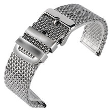 купить 20/22/24mm Wrist Band Watch Strap Replacement Men Solid Link Stainless Steel Mesh Silver Bracelet High Quality Pin Buckle по цене 444.85 рублей